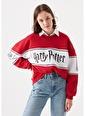 Mavi Harry Potter Baskılı Kırmızı Sweatshirt Kırmızı